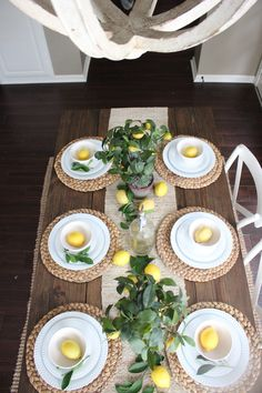 The Best Farmhouse Kitchen Lemon Accessories I'm pretty sure I first became obsessed with lemons after planting our very own Meyer Lemon Trees in our backyard several years ago! I absolutely love having fresh lemons to pick each y… Dining Room Table Decor, Deco Table, Dining Rooms, Lemon Centerpieces, Lemon Kitchen Decor, Lemon Party, Farmhouse Decor, Farmhouse Table, Planting