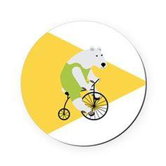 Cycling Polar Bear Triangle Arrow Cork Coaster
