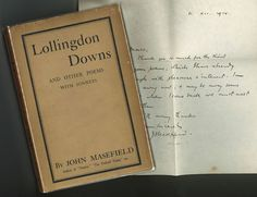 LOLLINGDON DOWNS AND OTHER POEMS, WITH SONNETS by Masefield, John. First British edition. My Poetry, Poetry Books, John Masefield, Poems, British, Poetry, Verses, England