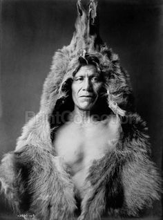 Bear's Belly, Arikara Indian half-length portrait, facing front, wearing bearskin. Photographed by Edward Curtis in 1908.