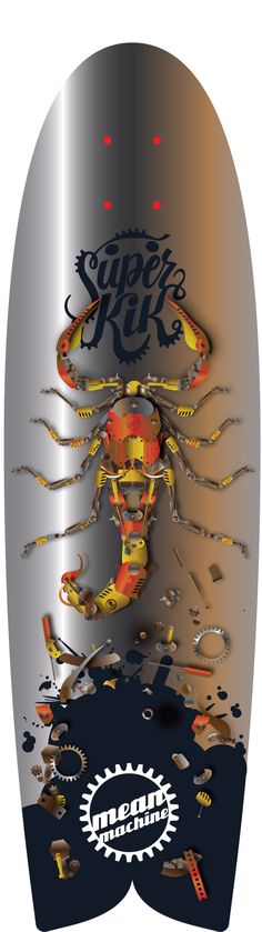 Icecold.cool longboard design by Henk de Bruin. Scorpion mean machine. Designed for Superkik