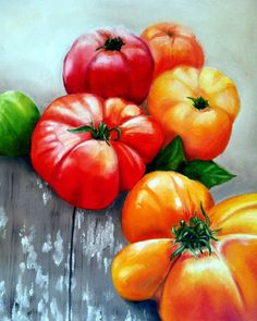 """Farmers Market Tomatoes Original Oil Painting - """"pangeaprojects"""""""