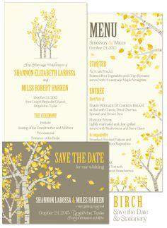 Birch Save the Date, Program and Menu