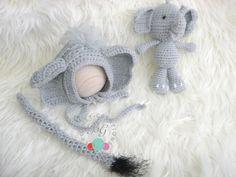 Crochet baby elephant set baby elephant bonnet and tail crochet baby elephant stuffie stuffed animal and tail photo prop elephant baby set by BGCrochetCreations on Etsy
