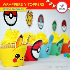 Do pokeball cupcake wrappers, white icing and then cardboard Pokémon toppers Baby Boy Birthday, Toy Story Birthday, 8th Birthday, Birthday Party Themes, Cupcakes Pokemon, Pikachu Cake, Pokemon Party Invitations, Pokemon Party Decorations, Deco Cupcake