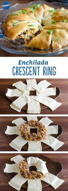 Enchilada Crescent Ring is a super easy recipe you'll love! The tender chicken is coated in taco seasoning and mixed together with your favorite sweet corn, beans and melty cheese. Your filling is then wrapped in flaky crescent dough, which is the perfect Mexican Dishes, Mexican Food Recipes, Beef Recipes, Cooking Recipes, Mexican Cheese, Mexican Chicken, Asian Chicken, Cooking Games, Fun Recipes