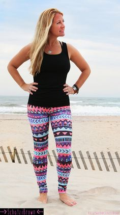 LEGGING 'TRIBAL Stripe' Style pink Legging for by SchatziBrown #surf #legging