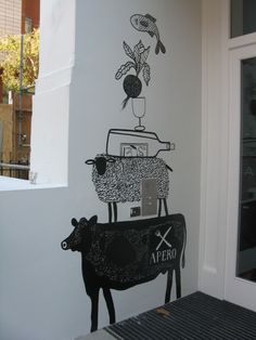 Last week I painted a mural in the entrance of a new restaurant called Apero, in South Kensington.