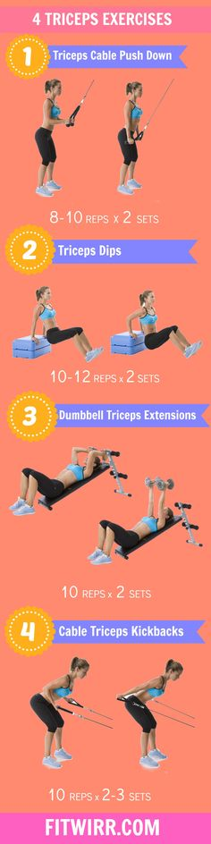 A pair of well toned arms is the perfect accent to a summer wardrobe. A beautiful summer dress can be ruined by a pair of flabby triceps that jiggle every time you lift your arm. The following list of exercises will help you to tone your triceps, firm up your biceps and prepare you for the season of skimpy attire.
