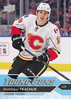 Upper Deck has just five weeks to get the most popular rookie cards of the year created for hockey fans around the world. Hockey Cards, Baseball Cards, Who Plays It, Young Guns, New Star, Upper Deck, Hockey Players, Ice Hockey, Calgary