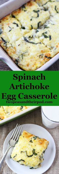 Spinach Artichoke Egg Casserole Recipe on http://twopeasandtheirpod.com This easy egg casserole is a breakfast favorite! It reheats well and everyone loves it!