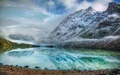 ледник, облака, холод, озеро, горы