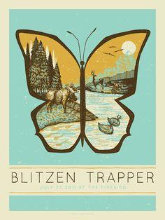 Concert Poster - Blitzen Trapper - Illustration Design Bungaloo ( butterfly / illustration / rock poster )