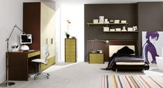 nice color scheme for teenage boy's room, grey brown and mustard-greenish yellow