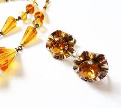 Vintage Crystal Sterling Earrings in Orange Topaz Art Nouveau