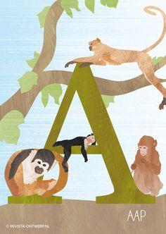 De A van aap. Dit keer een illustratie van allerlei verschillende aapjes in de boom. Een vrolijke boel zo bij elkaar toch?