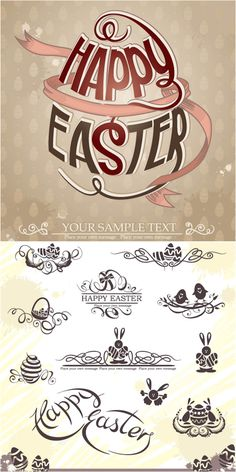 Decorative Easter Cards Vector  Spring Into Easter