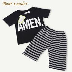 Bear Leader Baby Clothing Sets 2016 New Summer Style Black Letter Short T-shirt+Striped Pants 2pcs Children Clothes #Affiliate