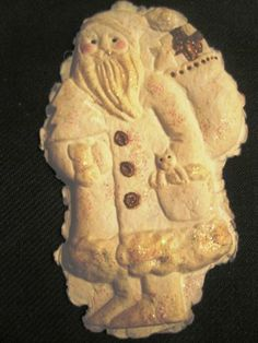 Hand Made Paper Cast Santa Note Card Christmas Ornament Brown Bag Cookie Mold