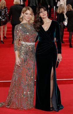 """Lea Seydoux Photos - Lea Seydoux and Monica Bellucci attend the Royal Film Performance of """"Spectre""""at Royal Albert Hall on October 2015 in London, England. Muslim Fashion, Modest Fashion, Fashion Dresses, Monica Bellucci, Blouse Dress, Sequin Dress, Elegant Dresses, Designer Dresses, Evening Dresses"""