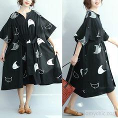 2017 Summer black fish print cotton dress drawstring waist plus size  sundresses shirts. Linen DressesCotton ... 271f3f3f1