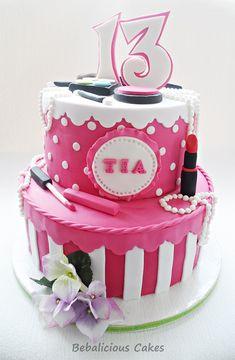 Sweet 13th Makeup Birthday Cake