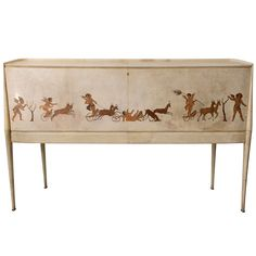 A Italian Modern Parchment and Inlaid Mixed Wood Drop Front Desk, Paolo Buffa