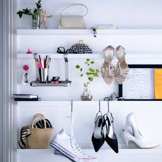 RIBBA picture ledge used for displaying bags, shoes and vases