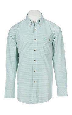 67b40ed6595 George Strait by Wrangler Men s Green Plaid Long Sleeve Western Shirt