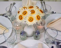 Butter Cream Button Toss Bouquet Flower Girl Centerpiece