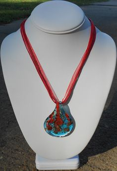 Cyan Glass Pendant With Red Ribbon Necklace by amyhicksking, $8.00