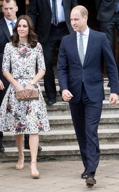 Day 2 from Prince William and Duchess of Cambridge Kate Middleton's Royal Tour of Poland and Germany  The next day, the couple's itinerary begins with a visit to former Nazi Stutthoff Concentration Camp. Middleton wears a necklace with a possibly amber pendant—the native gemstone of Poland.