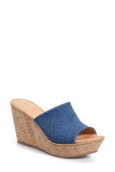 'Eugenia' Platform Wedge Slide Sandal