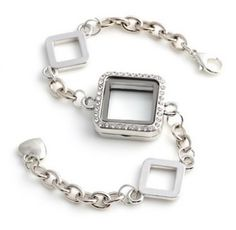 Stunning Square Locket Bracelet with Rhinestones Adjustable Made of Alloy