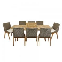 Teak Outdoor Oslo 9 piece Dinning Set Furniture