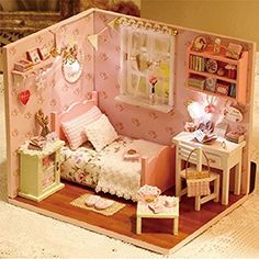 Wind Dollhouse Miniature DIY Kit Dolls House Room with Cover and LED