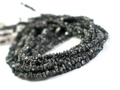 Rough DIAMOND Chips  16 Inch Strand  Black by LillyLuxe on Etsy, $58.00