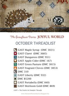 Dear Stitchers,   Hello October!  I am happy to present you the October pattern of my Joyful World primitive cross stitch calendar!:-)  ...
