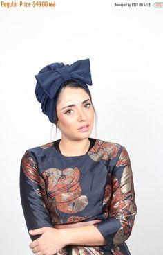 on sale free shipping turban bow hat blue by RonaHandmadeTurbans Hair Turban d3a1ea2dfed5