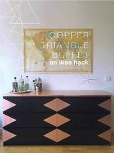 You can also cut up pieces of contact paper to make rose gold accents on a dresser.