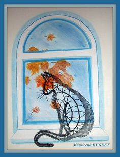 chat fenêtre Needle Lace, Bobbin Lace, Lacemaking, Fauna, Decoration, Window, Painting, Watercolor Painting, Cat Breeds