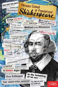 Phrases Coined or Popularized by Shakespeare Poster, Classroom Decor: Teacher's Discovery British Literature, English Literature, Gcse English, Education English, Teaching English, Teaching Materials, Teaching Resources, Primary Teaching, Classroom Resources