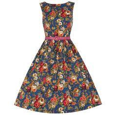 'Audrey' Navy Blue Floral Print Swing Dress ($34) ❤ liked on Polyvore featuring dresses, navy, white circle skirt, white floral dress, trapeze dress, white dress and navy skater skirt
