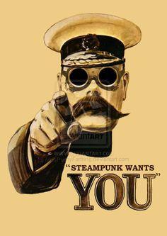 Kitchener Steampunk PosterbyMissPennyFarthing~Steampunk Love •❀•by Airship Commander HG Havisham