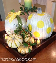 pumpkin tablescape and painted pumpkins l recreate and decorate