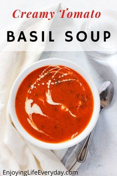 Easy and delicious tomato basil soup, made with fresh tomatoes and basil. This recipe is one of my favourite to make with fresh tomatoes from the garden. Creamy soup that only takes a couple of minutes to make with only a few steps. This recipe is the best for tomato soup and everyone will love it. It is healthy, keto-approved, and delicious as an appetizer or lunch with a sandwich. #lunch #tomatosoup #soup #freshtomatos #weeknightmeals #dinner #easydinner #easyrecipe #recipes