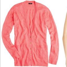 J. Crew coral pink cable knit cardigan sweater In gently work condition. The perfect layering cardigan for spring. Lightweight, gorgeous color! J. Crew Sweaters Cardigans
