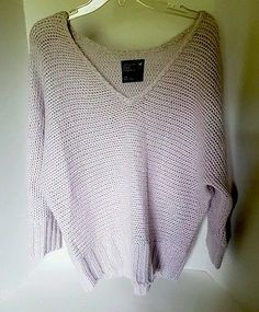 Womens American Eagle 3/4 Sleeve Knit Violet Lavander Sweater Fits S/M/L