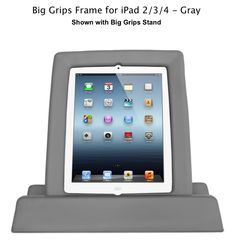 GRAY Big Grips Frame for iPad 2/3/4 AND matching stand is BACK :). Limited quantity - get yours today!