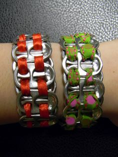 These cute bracelets are made out of the pop tops on soda cans & ribbons.  This site has the link to the tutorial on youtube.